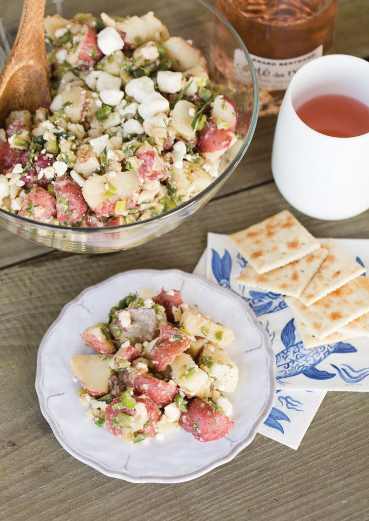 Bowl of dill and feta potato salad