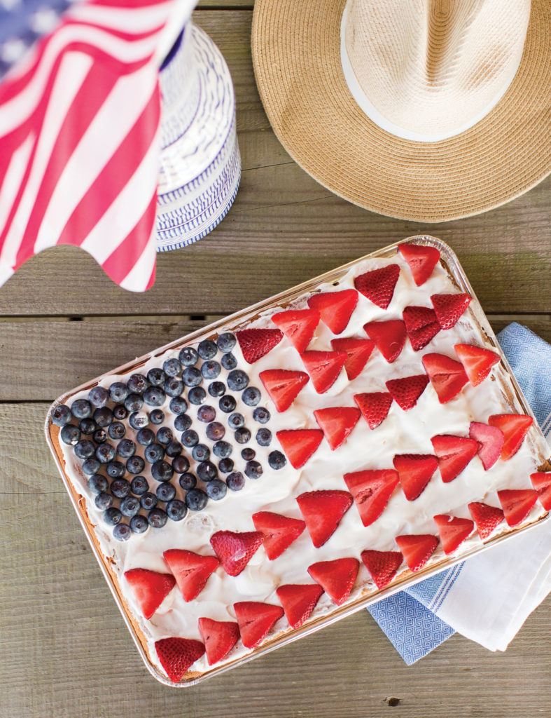 American flag decorated cookie cake