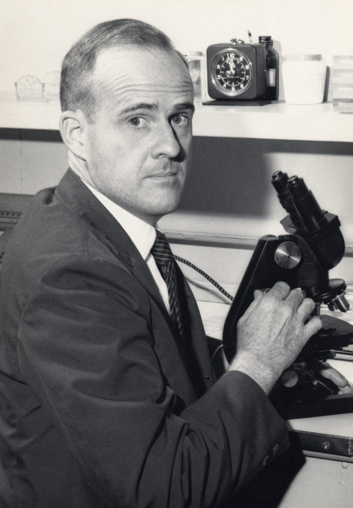 Eugene Sledge in a laboratory