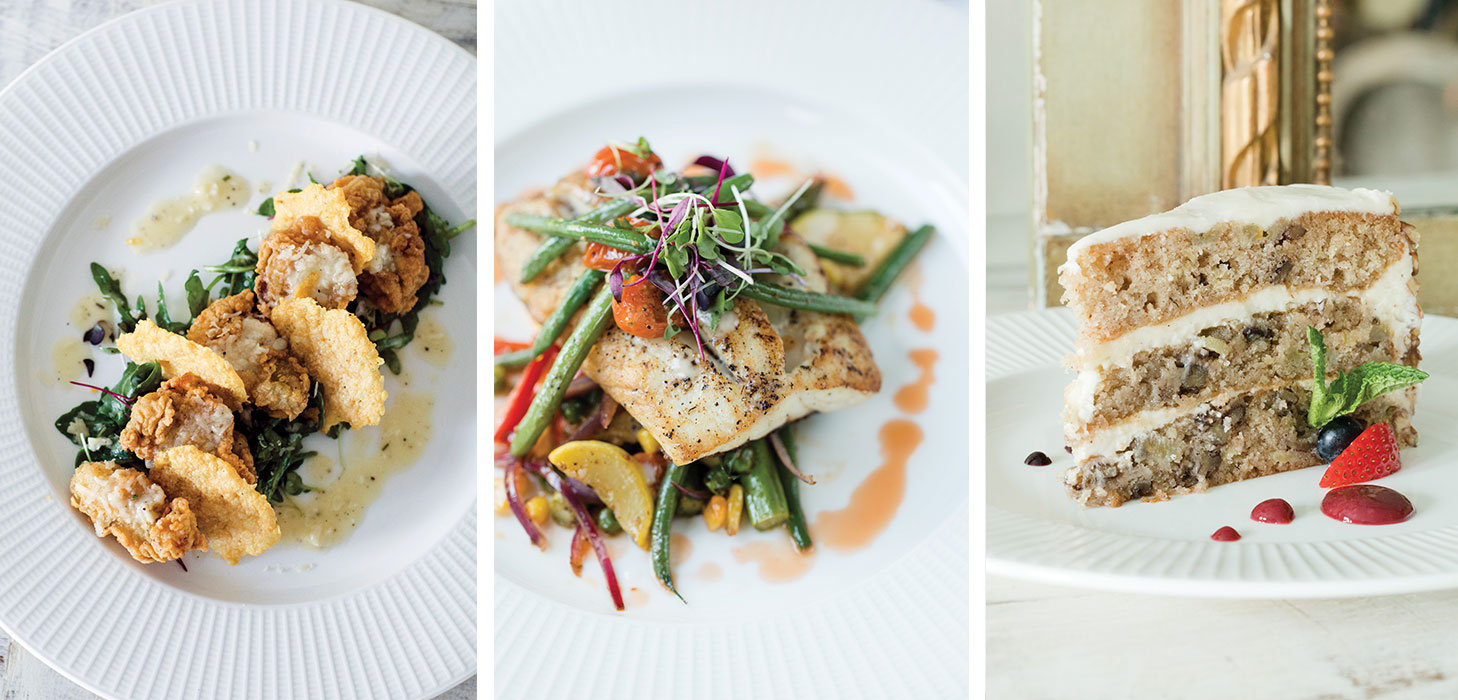 Food dishes from The Fairhope Inn