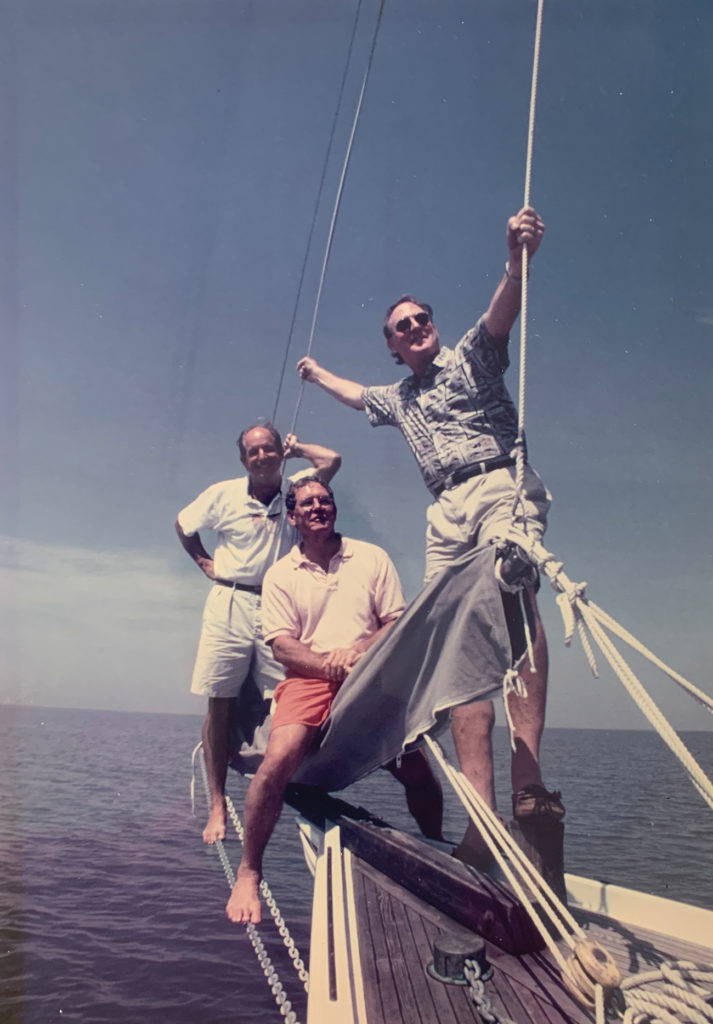 Winston Groom sailing with friends